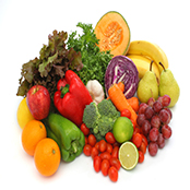 colorful fresh group of fruits and vegetables for a balanced diet. white background. look at my gallery for more fresh fruits and vegetables.